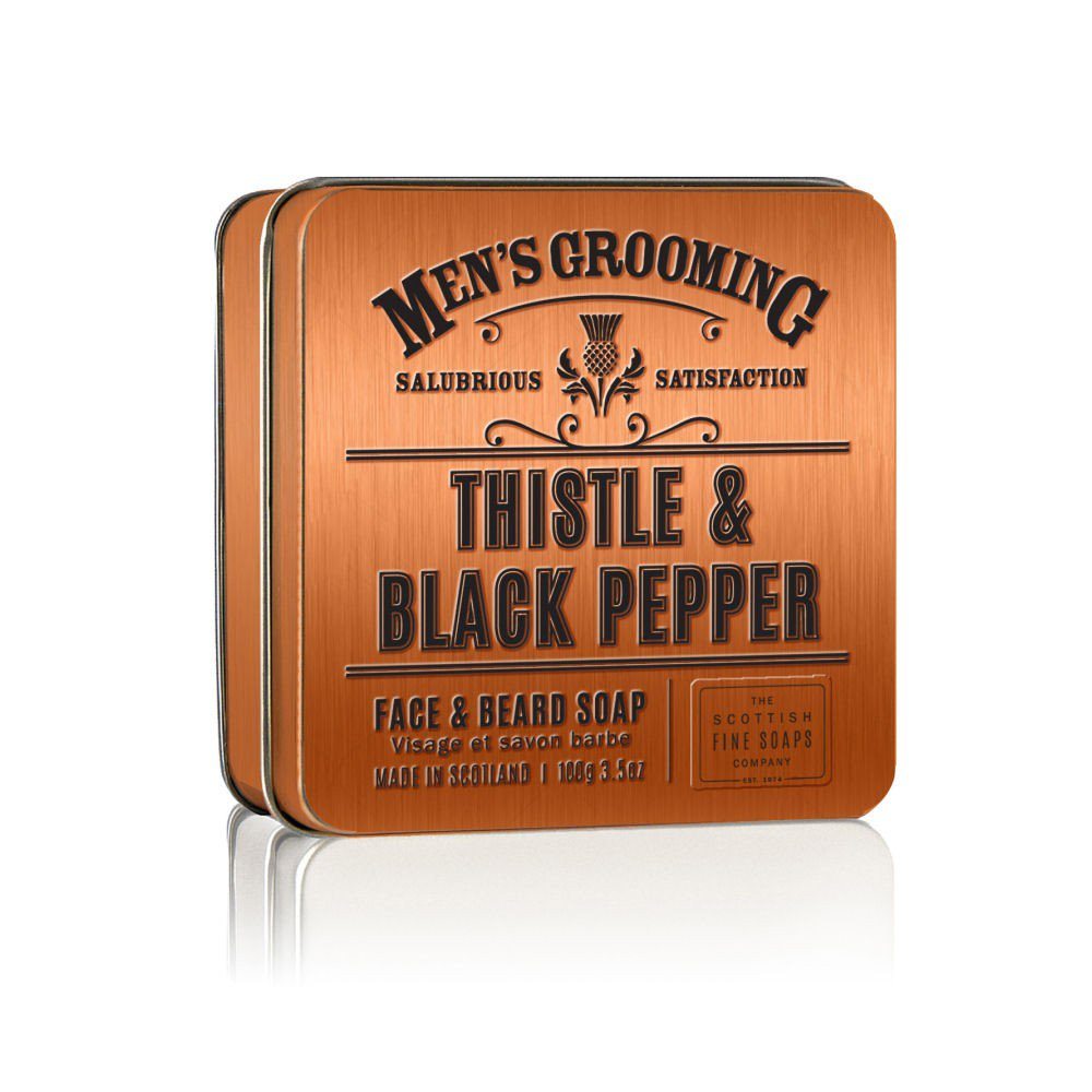 Thistle and Black Pepper Mens Grooming Face & Beard Soap | More Than Just at Gift | Narborough Hall