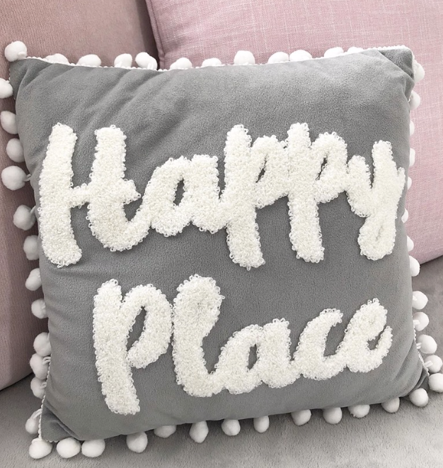Happy Place Charcoal Grey Pom Pom Cushion