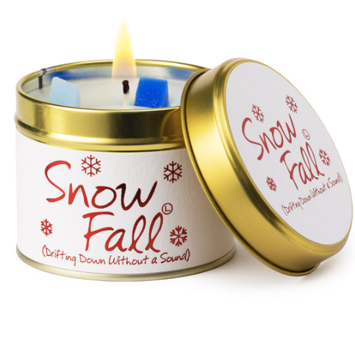 Lily-flame Snow Fall Candle Tin