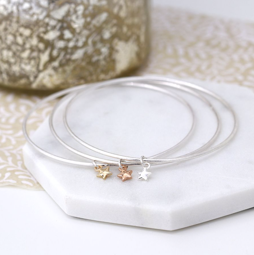 Silver Plated Triple Bangle Set With Stars