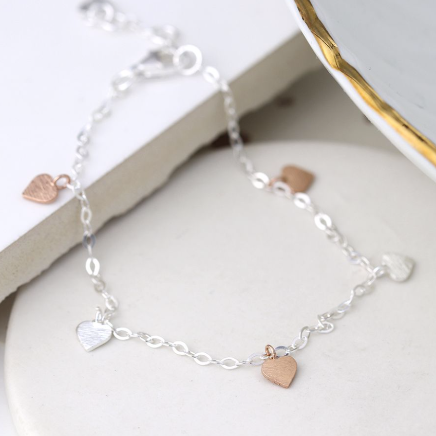Sterling Silver Bracelet with Silver and Rose Gold Heart Charms