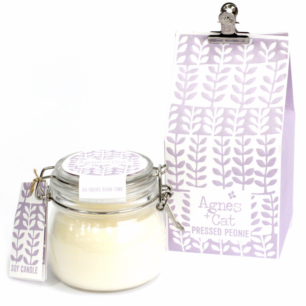 Agnes+Cat Pressed Peonies Kilner Jar Candle