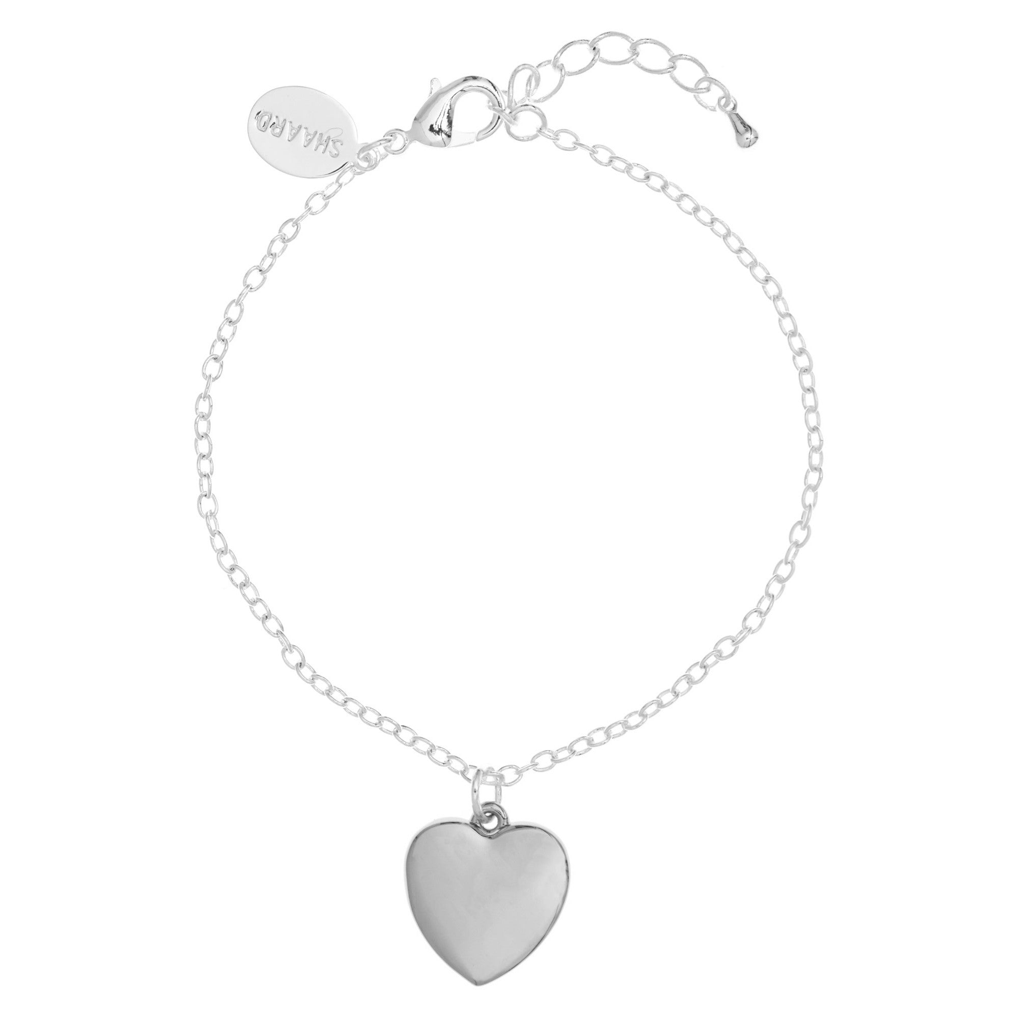 of sterling t heart charm lengths jewellery bracelet bar choice silver