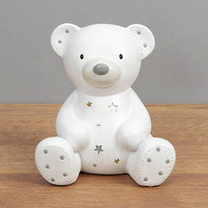 Bambino White Teddy Resin Money Box