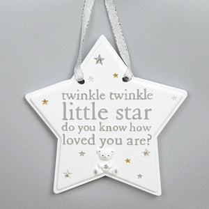 Bambino White Twinkle Twinkle Little Star Hanging Plaque