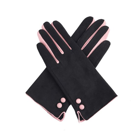 Black & Pink Button Gloves