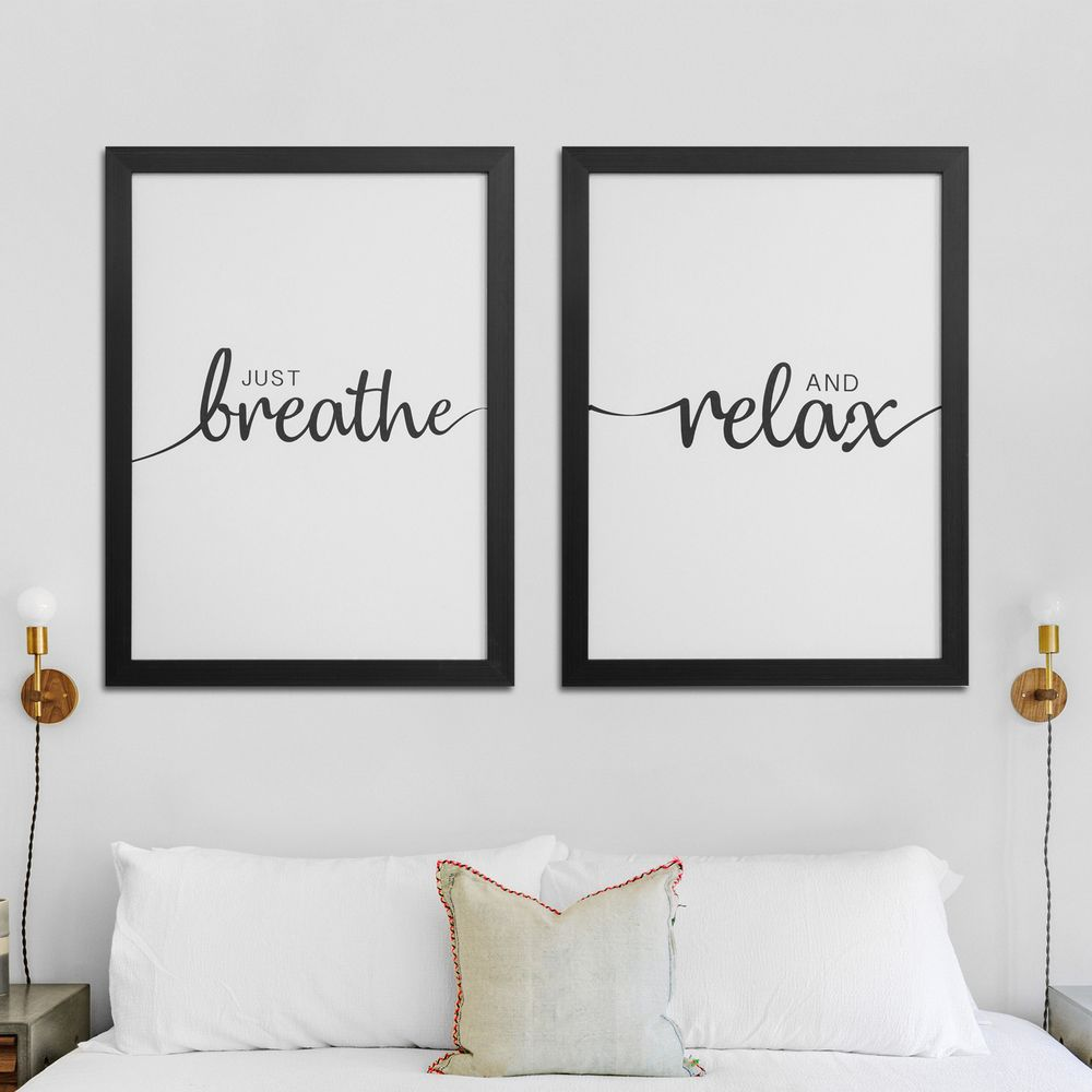 'Breathe & Relax' Framed Canvas Print Set