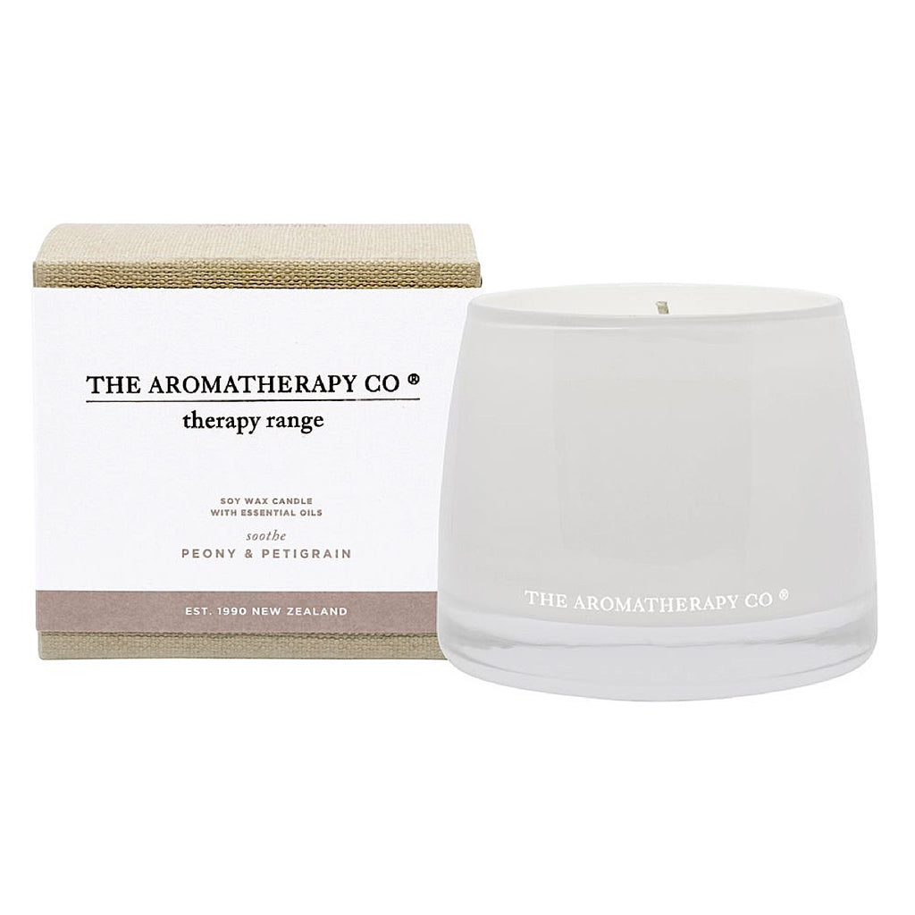 The Aromatherapy Co Therapy Range Sooth Petitgrain & Peony Candle at More Than Just A Gift