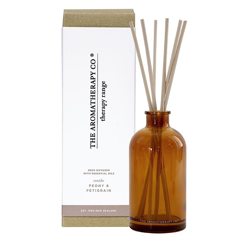The Aromatherapy Co Therapy Range Soothe Petitgrain & Peony Reed Diffuser at More Than Just A Gift