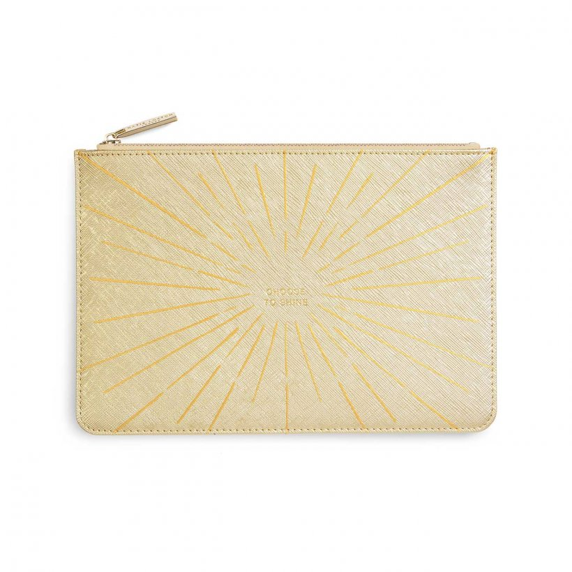 Katie Loxton Choose To Shine Metallic Gold Gold Print Perfect Pouch | More Than Just A Gift