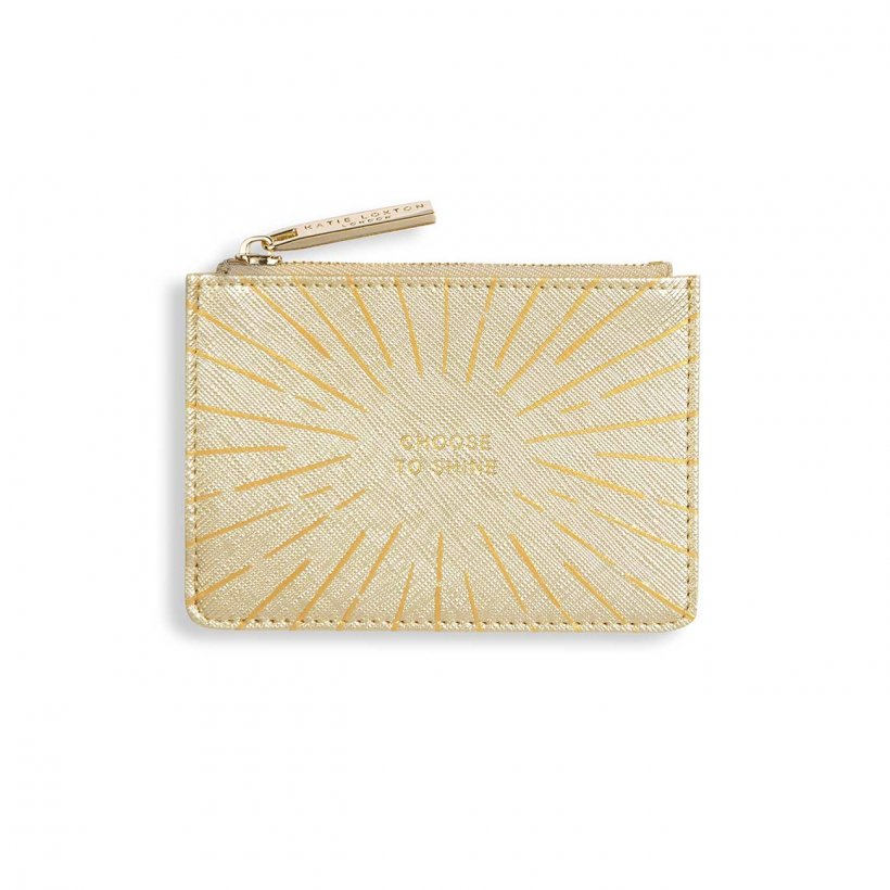 Katie Loxton Choose To Shine Metallic Gold Gold Print Card Holder | More Than Just A Gift