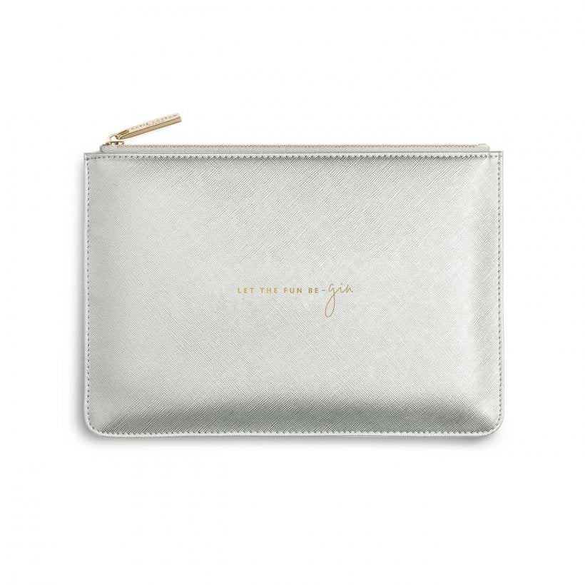 Katie Loxton Let The Fun Be-Gin Metallic Silver Perfect Pouch | More Than Just A Gift