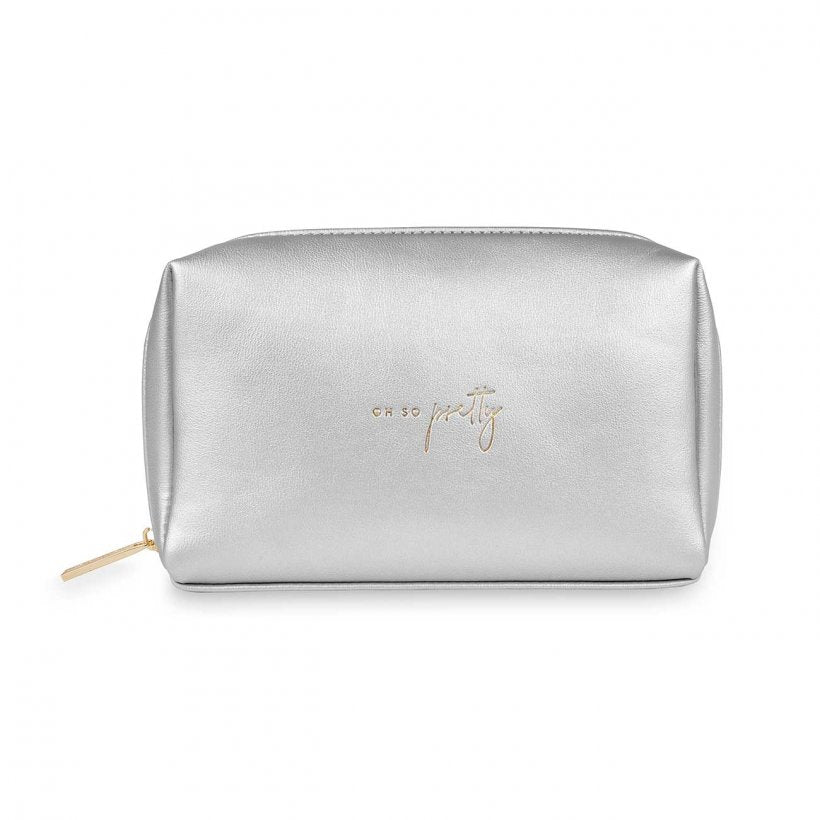 Katie Loxton Oh So Pretty Silver Colour Pop Make Up Bag | More Than Just A Gift