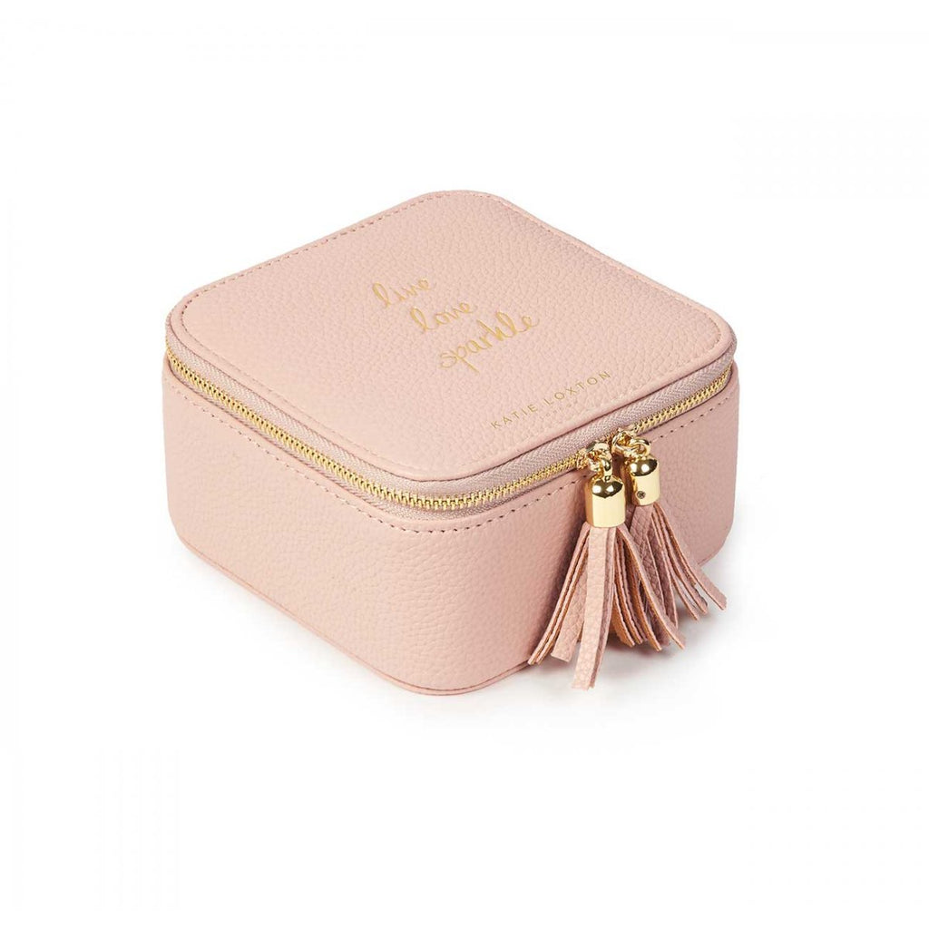 Katie Loxton Live Love Sparkle Square Jewellery Box- Pink