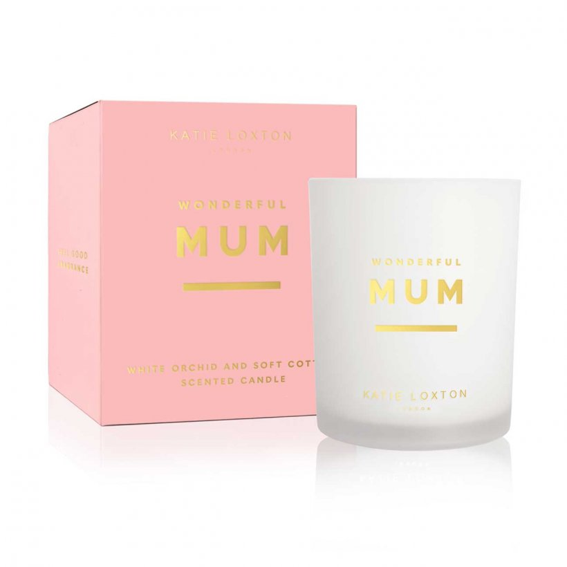 Katie Loxton Wonderful Mum White Orchid and Soft Cotton Sentiment Candle | More Than Just A Gift