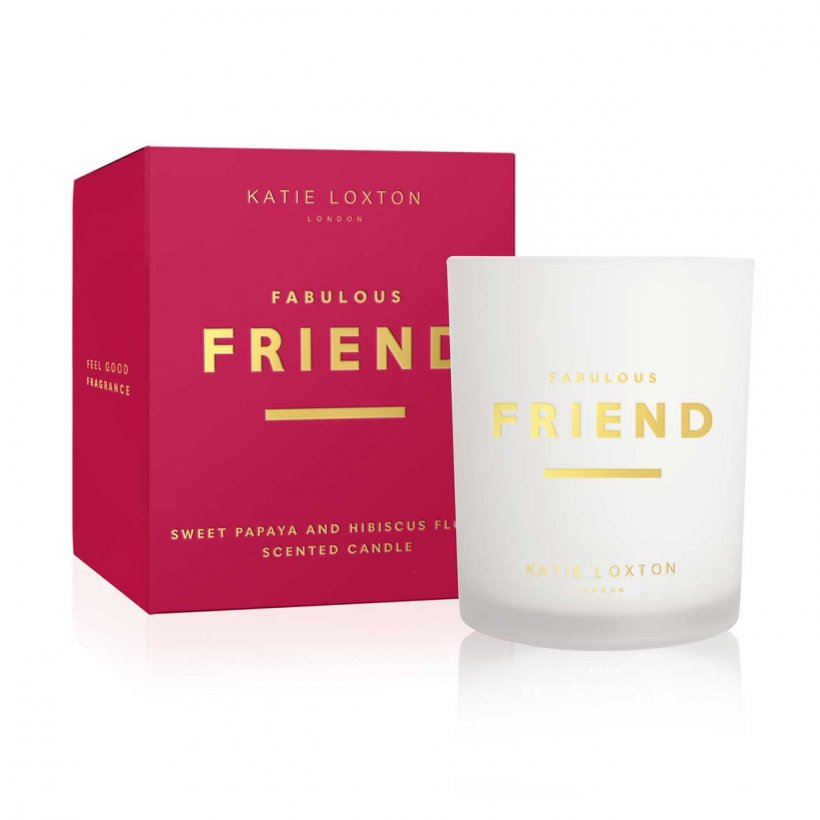 Katie Loxton Fabulous Friend Sweet Papaya and Hibiscus Flower Sentiment Candle | More Than Just A Gift