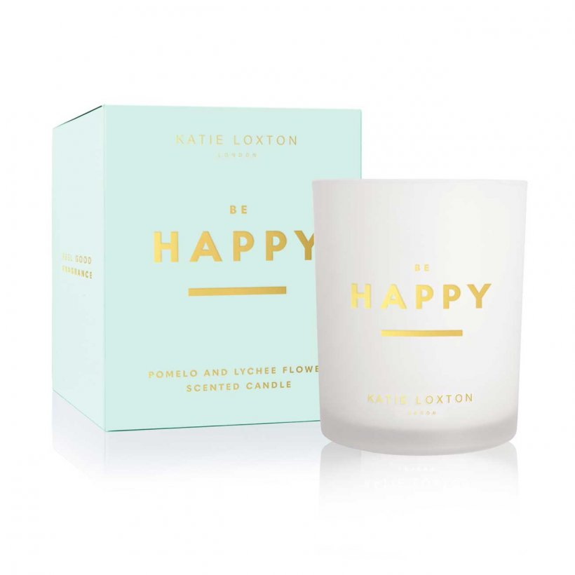 Katie Loxton Be Happy Pomelo and Lychee Flower Sentiment Candle | More Than Just A Gift