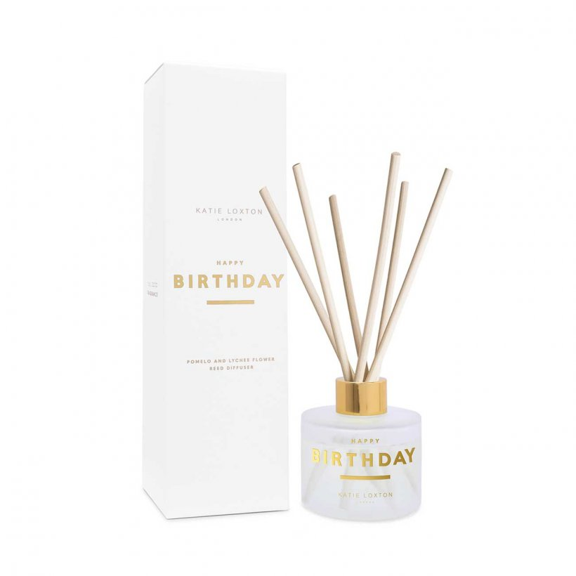 Katie Loxton Happy Birthday Reed Diffuser- Pomelo and Lychee Flower  | More Than Just A Gift