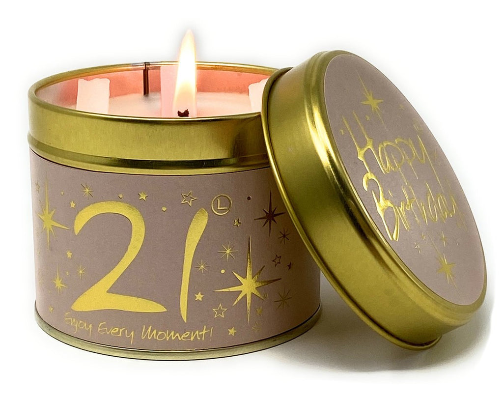 Lily-flame Happy 21st Birthday Candle Tin