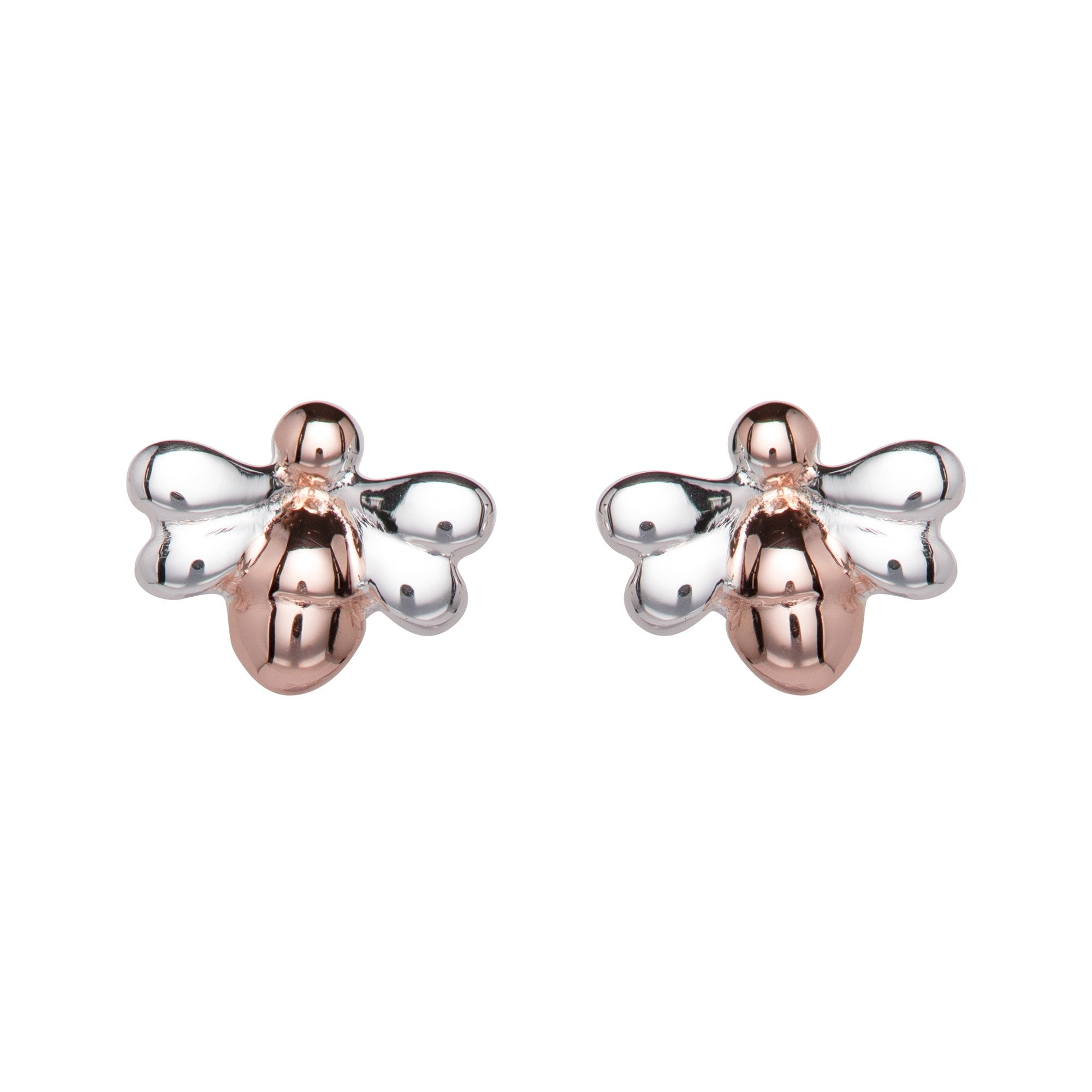 Unique Silver and Rose Gold Bee Earrings