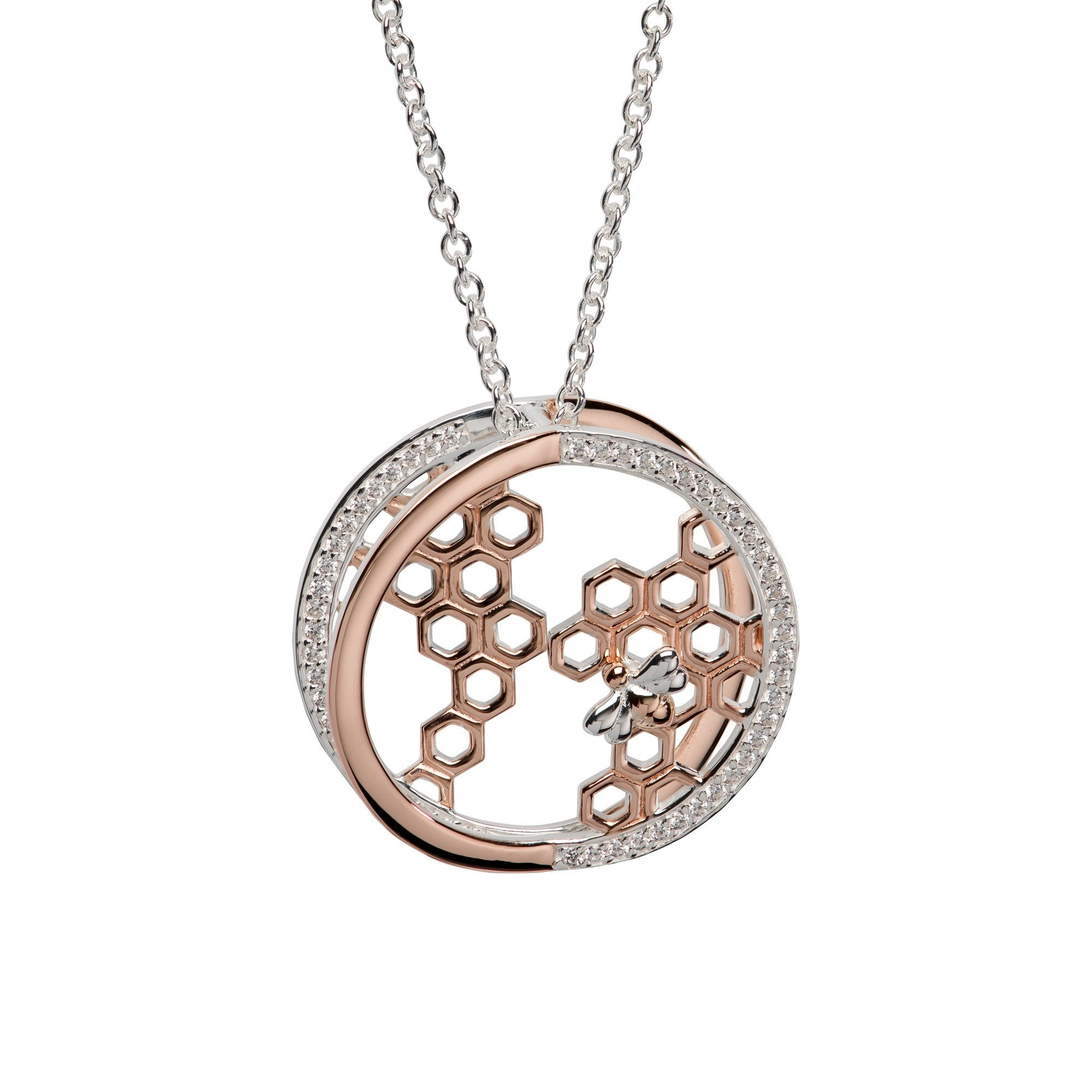 Unique & Co Sterling Silver & Rose Gold Bee & Honeycomb Pendant