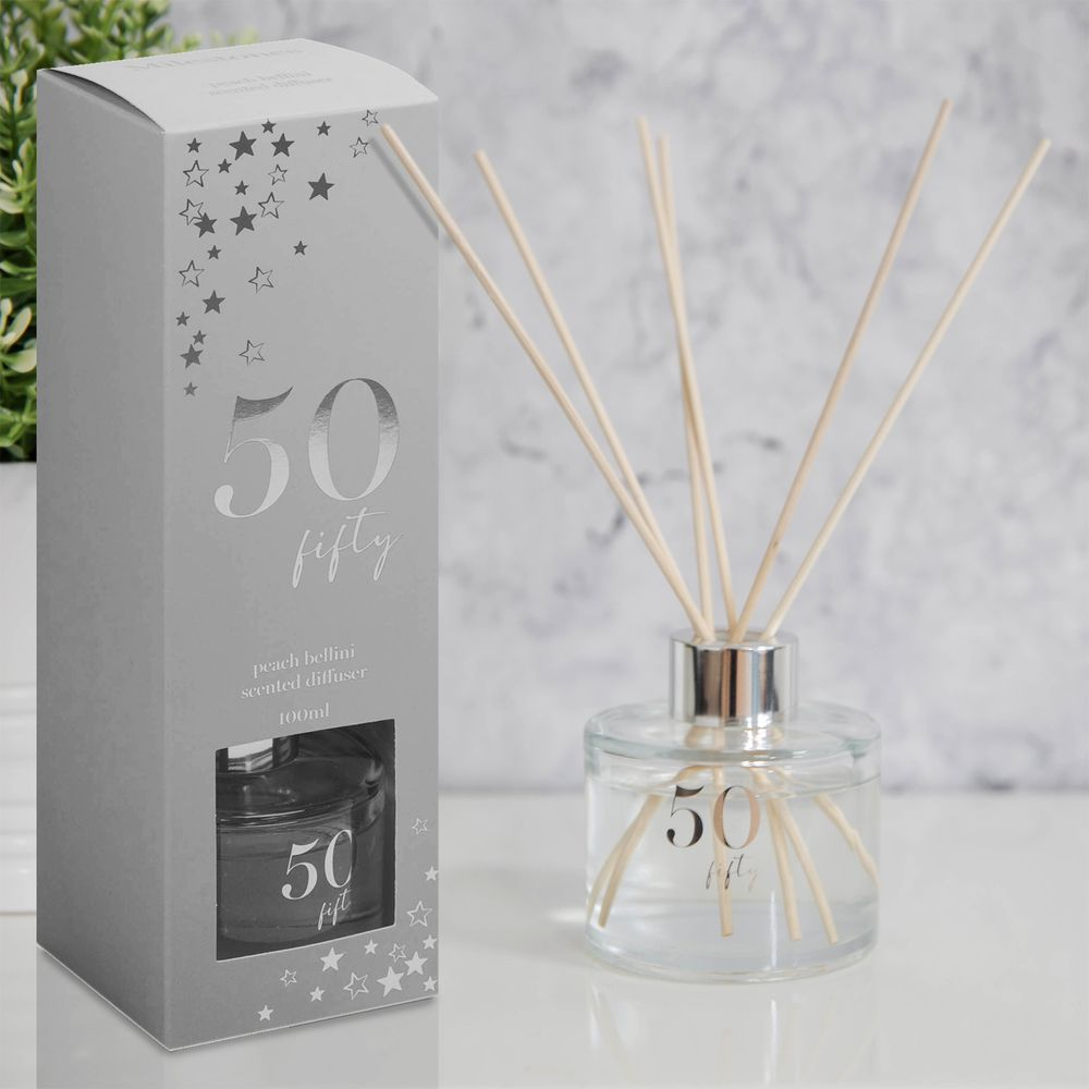 Milestones 50th Birthday Peach Bellini Scented Reed Diffuser