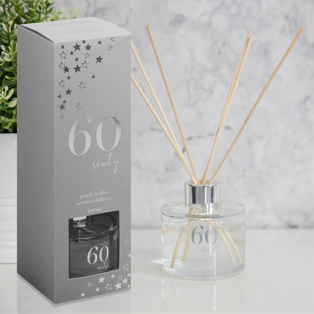 Milestones 60th Birthday Peach Bellini Scented Reed Diffuser