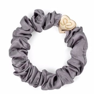 Grey Scrunchie Bangle With Gold Heart