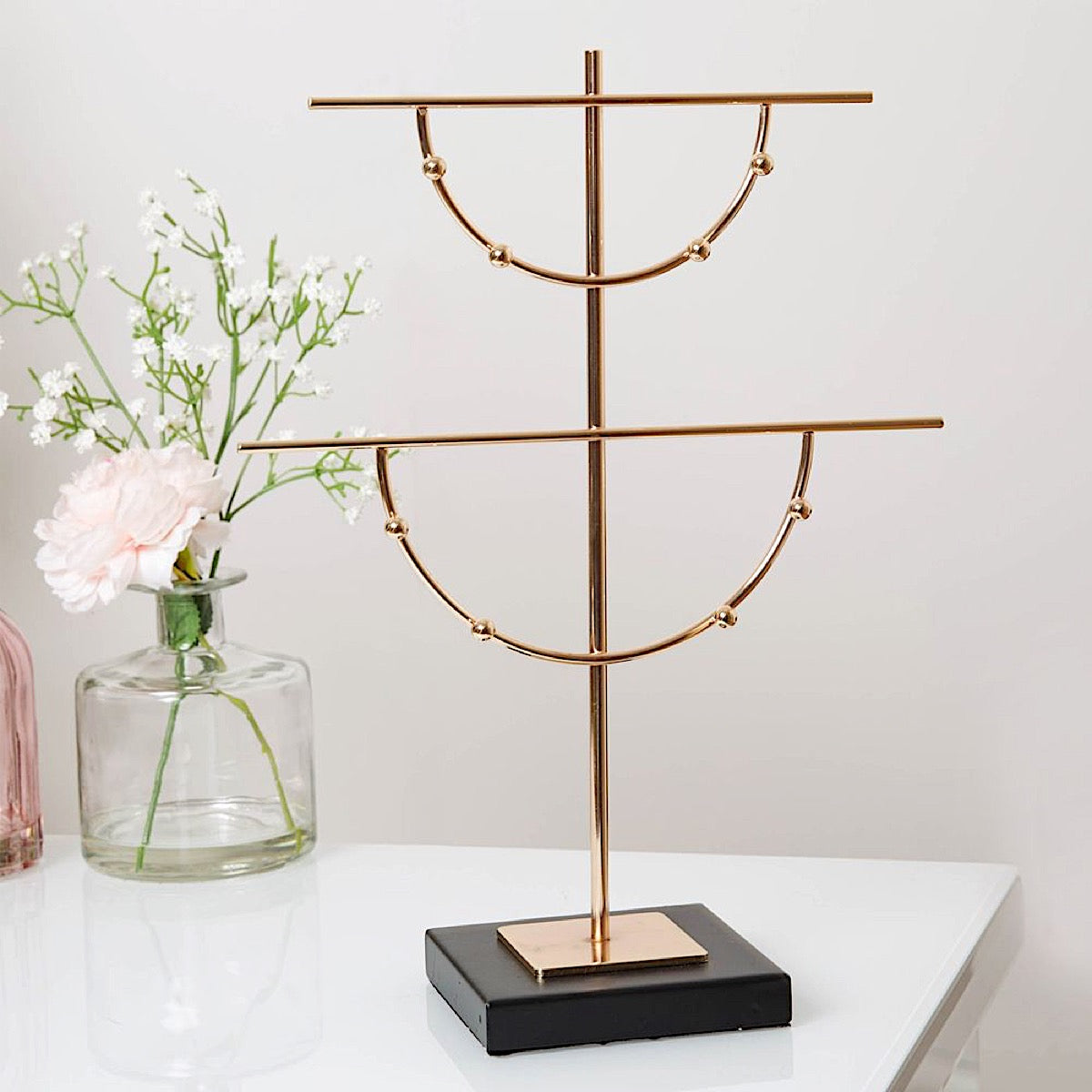 Estella Gold Finish Metal & Glass Jewellery Hanger