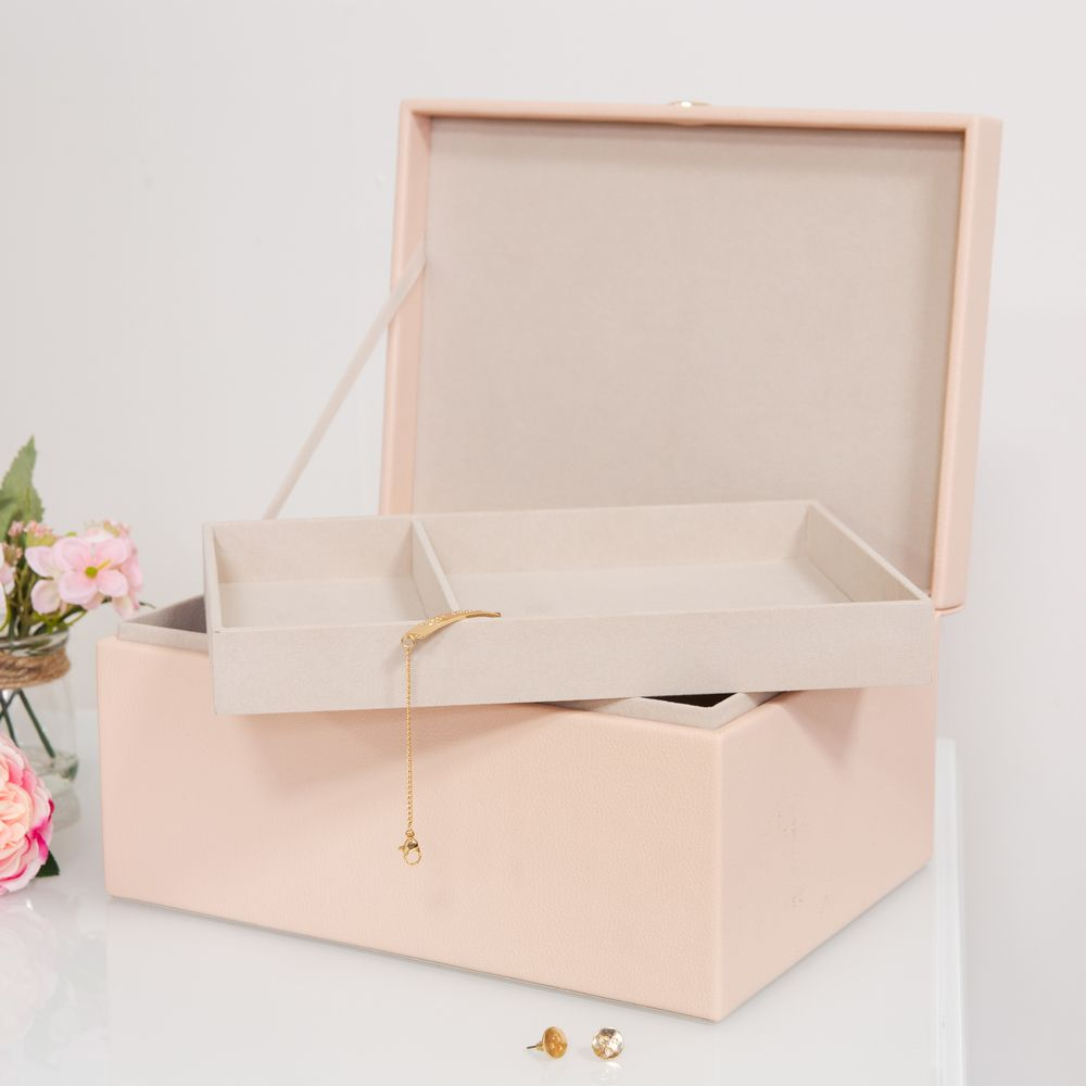 Estella Pink Large Jewellery Box with Rose Gold Heart Clasp