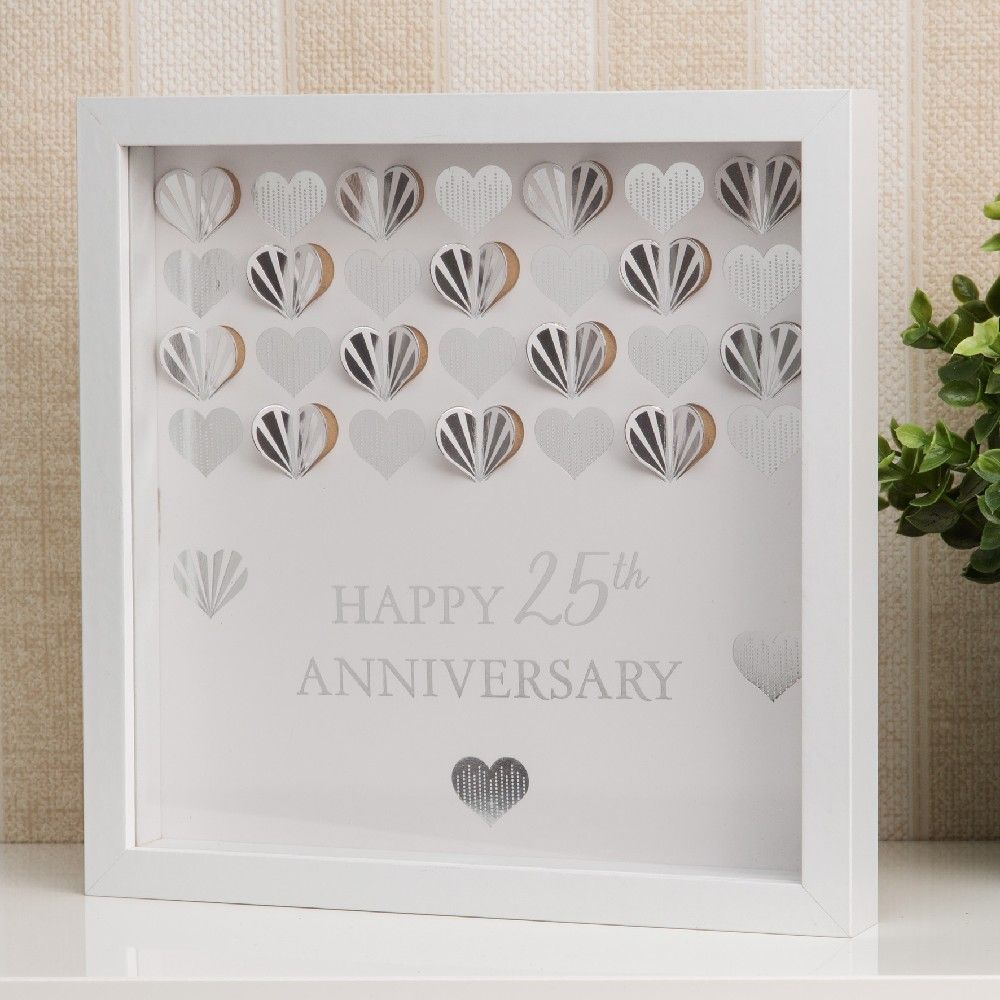 Celebrations White 25th Anniversary Wall Frame Plaque