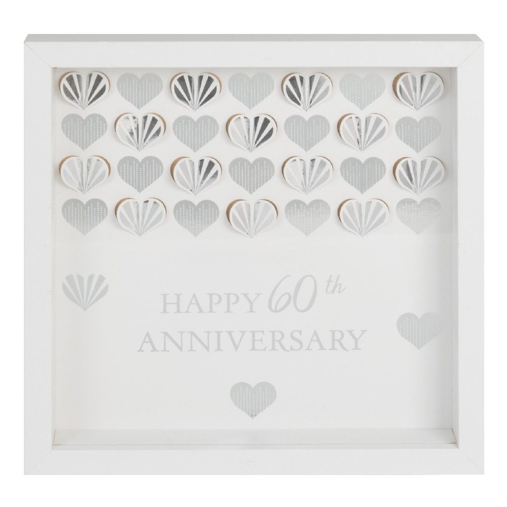 Celebrations White 60th Anniversary Wall Frame Plaque