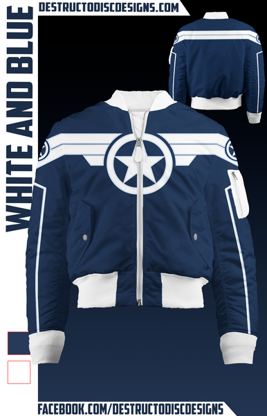 White and Blue Bomber Jacket!