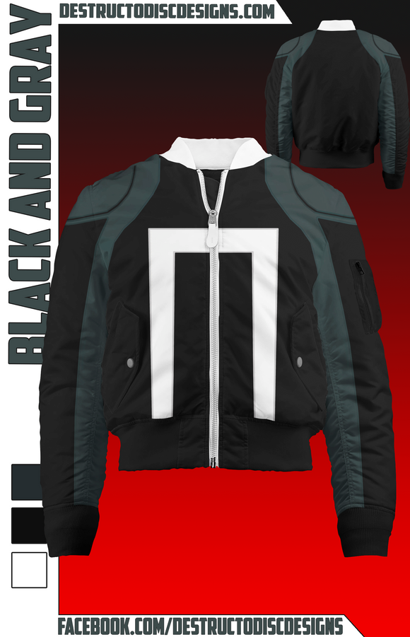 Black and Gray Bomber Jacket! [Preorder]