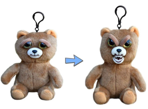 "Feisty Pets Mini Sir Growls-A-Lot- Interactive 4"" Backpack Clip or Purse Charm!"
