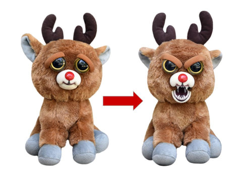 "Feisty Pets by William Mark- Rude Alf- Amazing 8.5"" Plush Stuffed Red Nosed Reindeer That Turns Feisty With a Squeeze!"