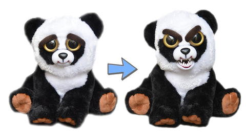 "Feisty Pets by William Mark- Black Belt Bobby- Adorable 8.5"" Plush Stuffed Panda Bear That Turns Feisty With a Squeeze!"
