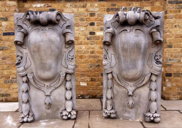 Antique Portland Stone Cartouches from St James' Market, London