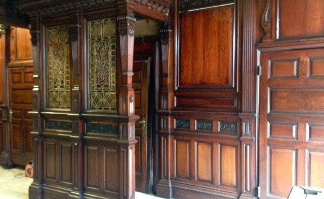 Victorian Ornately Carved Mahogany Panelled Room on Display