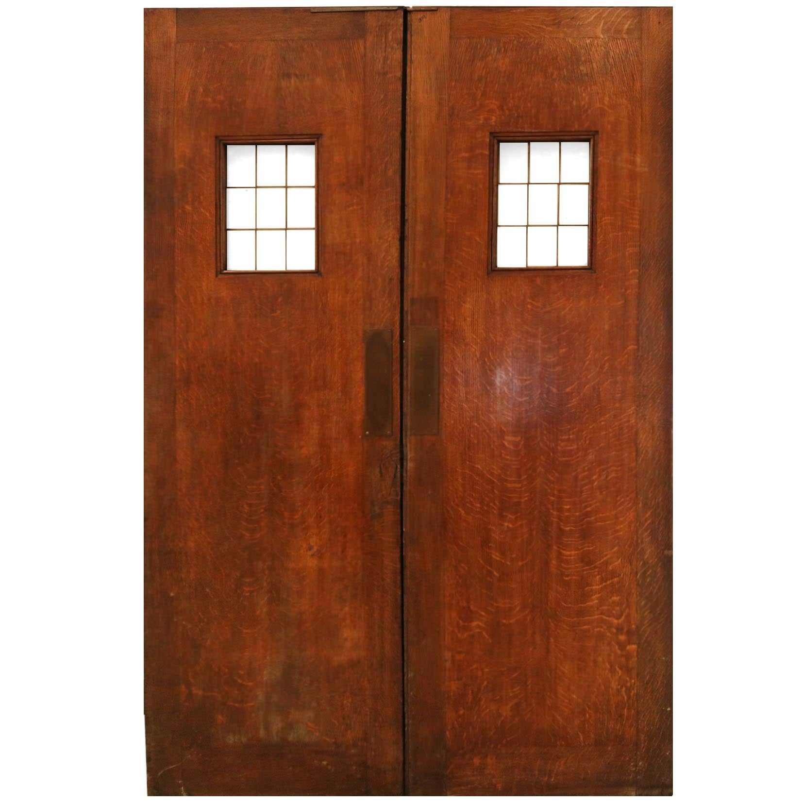 Vintage 1930's Solid Oak Double Doors - architectural-forum