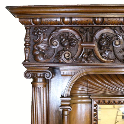 Spectacular Carved Oak Fireplace with Overmantle