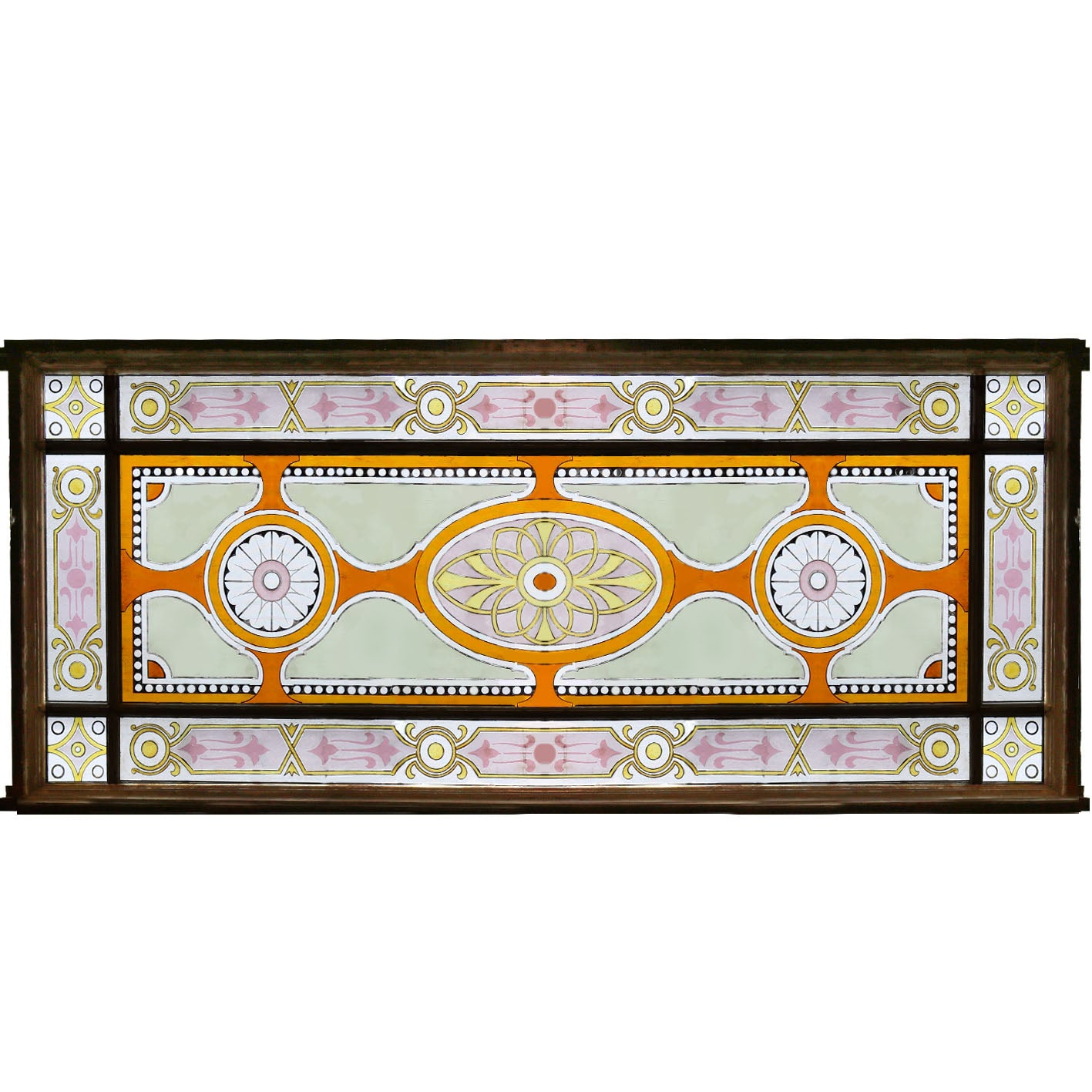 Large Victorian Stained Glass Panel - 2 Available