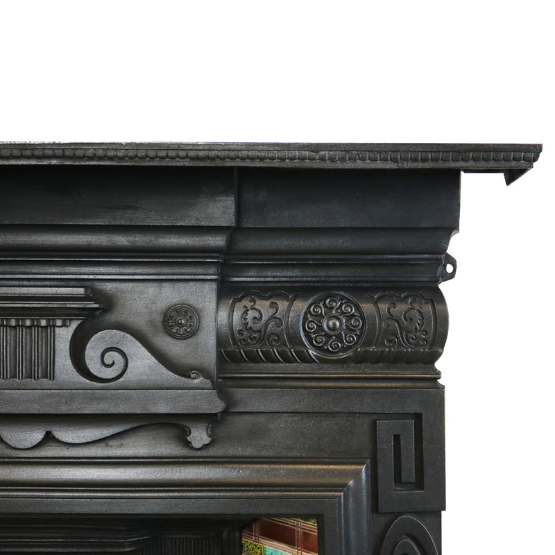 Antique Victorian Cast Iron Tiled Combination Fireplace - architectural-forum