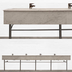 Carrara Marble Four Sink Vanity Unit