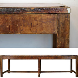 wood and leatherette table