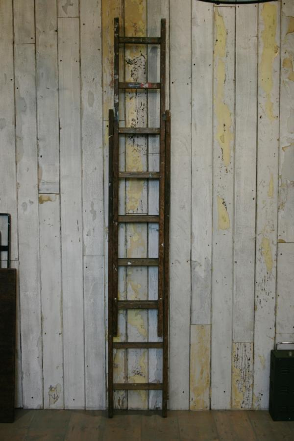 Vintage Industrial Wooden Extending Ladder