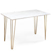 Carrara Marble Topped Table with Brass Hairpin Legs