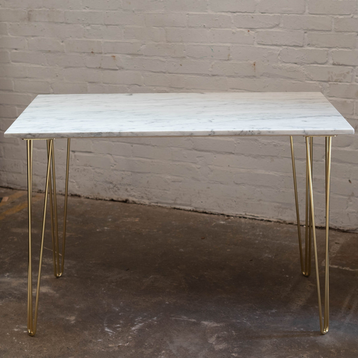 Carrara Marble Topped Table with Brass Hairpin Legs | The Architectural Forum
