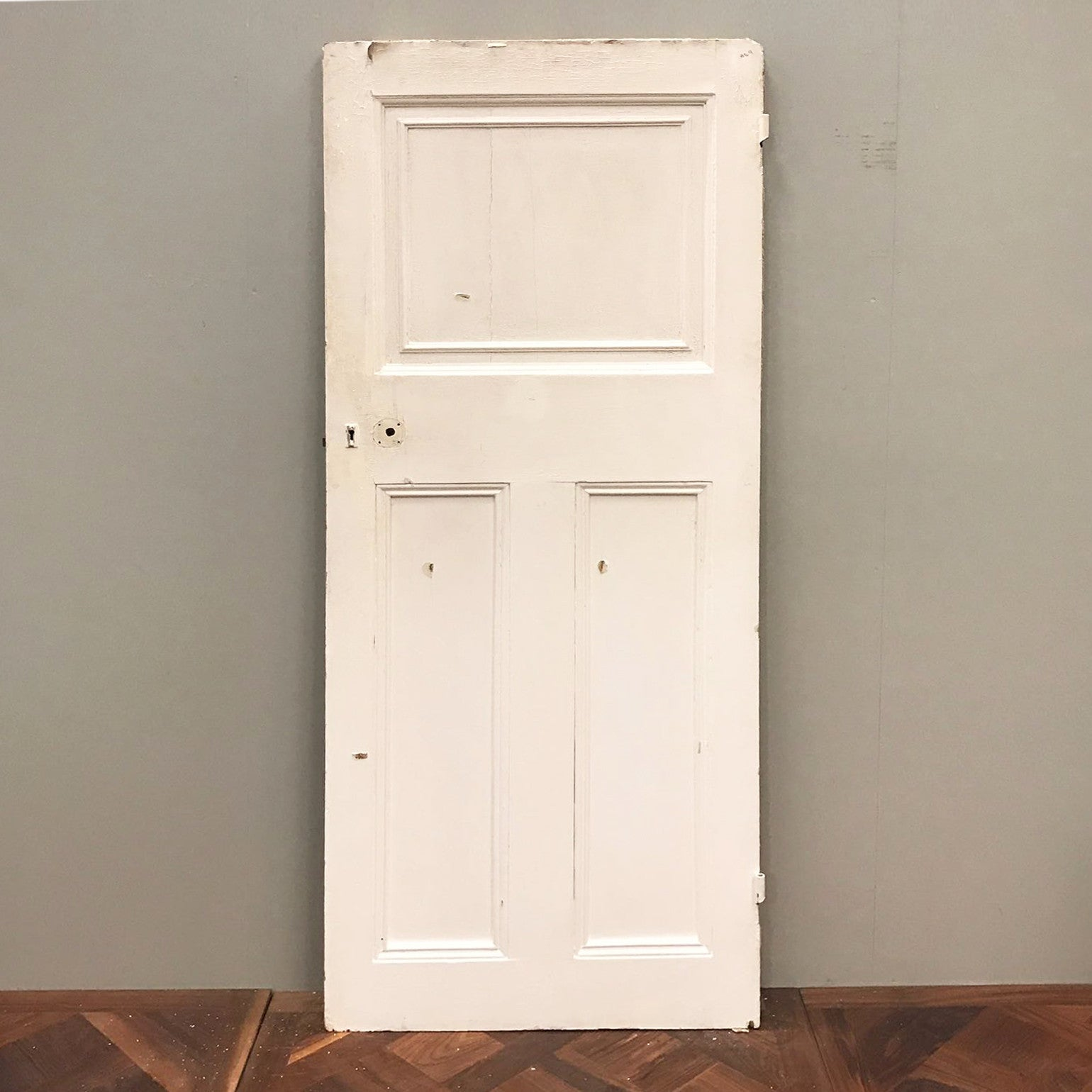 Antique Edwardian Three Panel Door - 200cm x 80cm x 4.5cm - architectural-forum