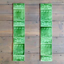 Art Nouveau green fireplace tiles
